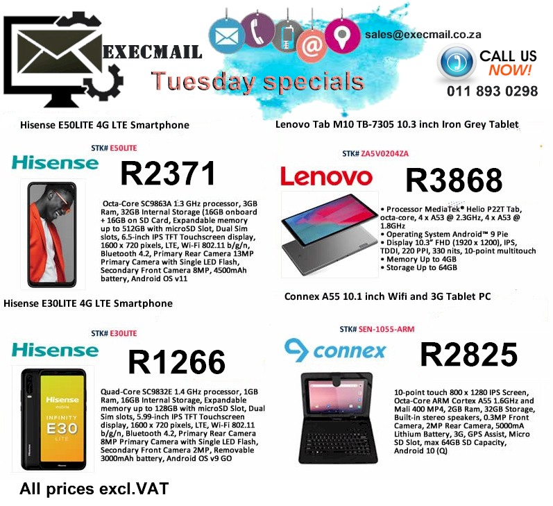 TUESDAY SPECIALS@ EXECMAIL